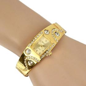 Relogio Feminino Pequeno Dourado Luxo Pulseira Com Pedras