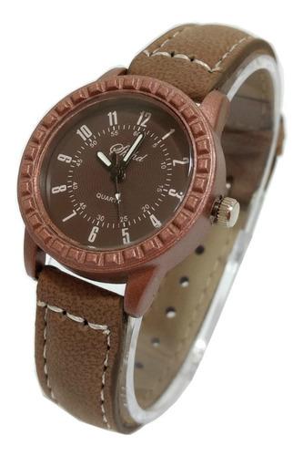 relógio feminino pequeno número aço inox pulseira couro fina