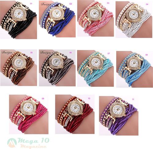 relógio feminino pequeno pulseira de couro c strass cód.096