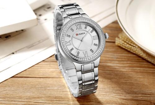 relógio feminino prata curren a prova d agua original