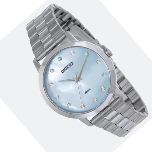 relogio feminino prata fundo azul madrepérola orient