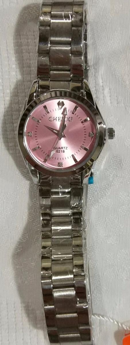 d548c61a1ba relogio feminino prata fundo rosa chenxi prova dagua barato. Carregando zoom .