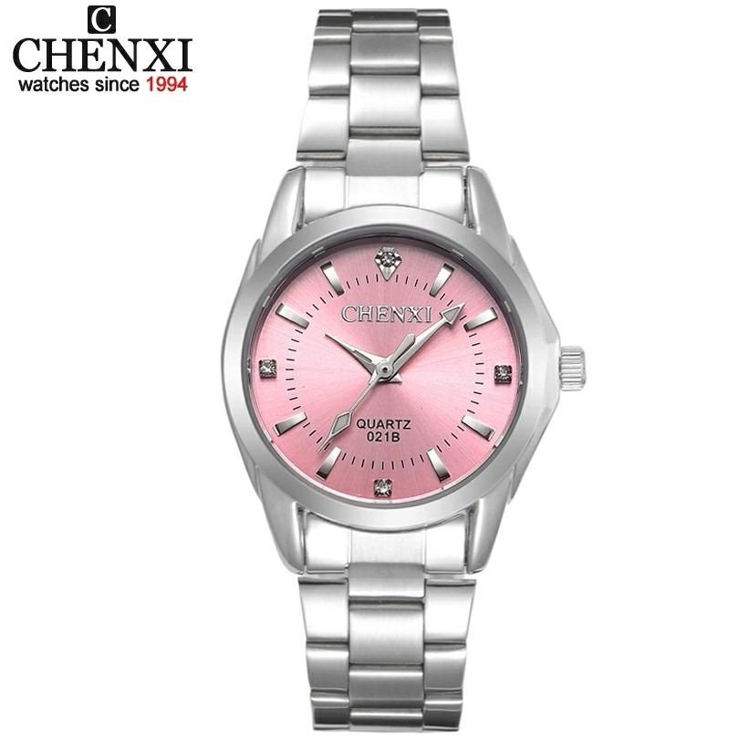 cc6553bd270 relógio feminino prata fundo rosa chenxi prova d água barato. Carregando  zoom.