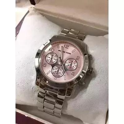 317268f9d92 Relógio Feminino Prata Fundo Rosa Pronta Entrega - R  59