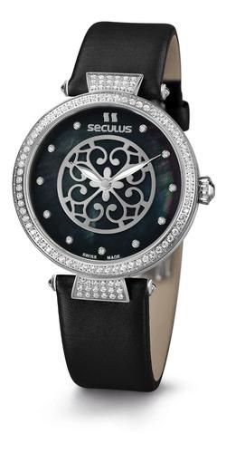 relógio feminino prata seculus de couro com pedras suiço
