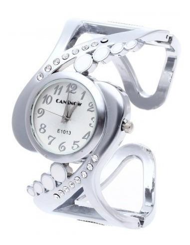 relogio feminino prateado quartz  bracelete presente natal