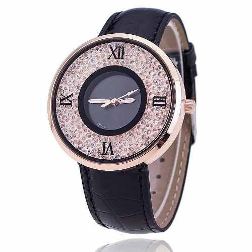 relógio feminino preto com cristal importado já no brasil