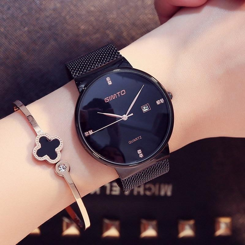 d8a3027b63e relógio feminino preto com pulseira malha de aço luxo barato. Carregando  zoom.