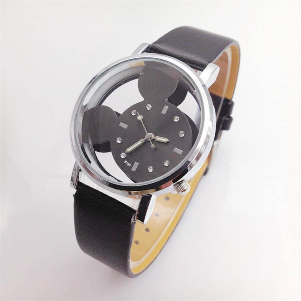 e97d7770575 Relógio Feminino Preto E Pulseira Couro Mickey Transparente - R  24 ...