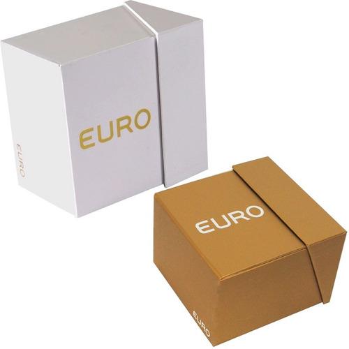 relogio feminino preto euro caixa transparente preta fashion