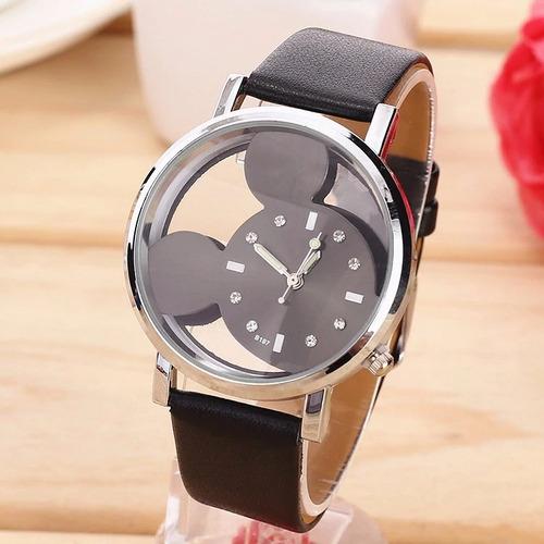 relógio feminino preto mickey importado
