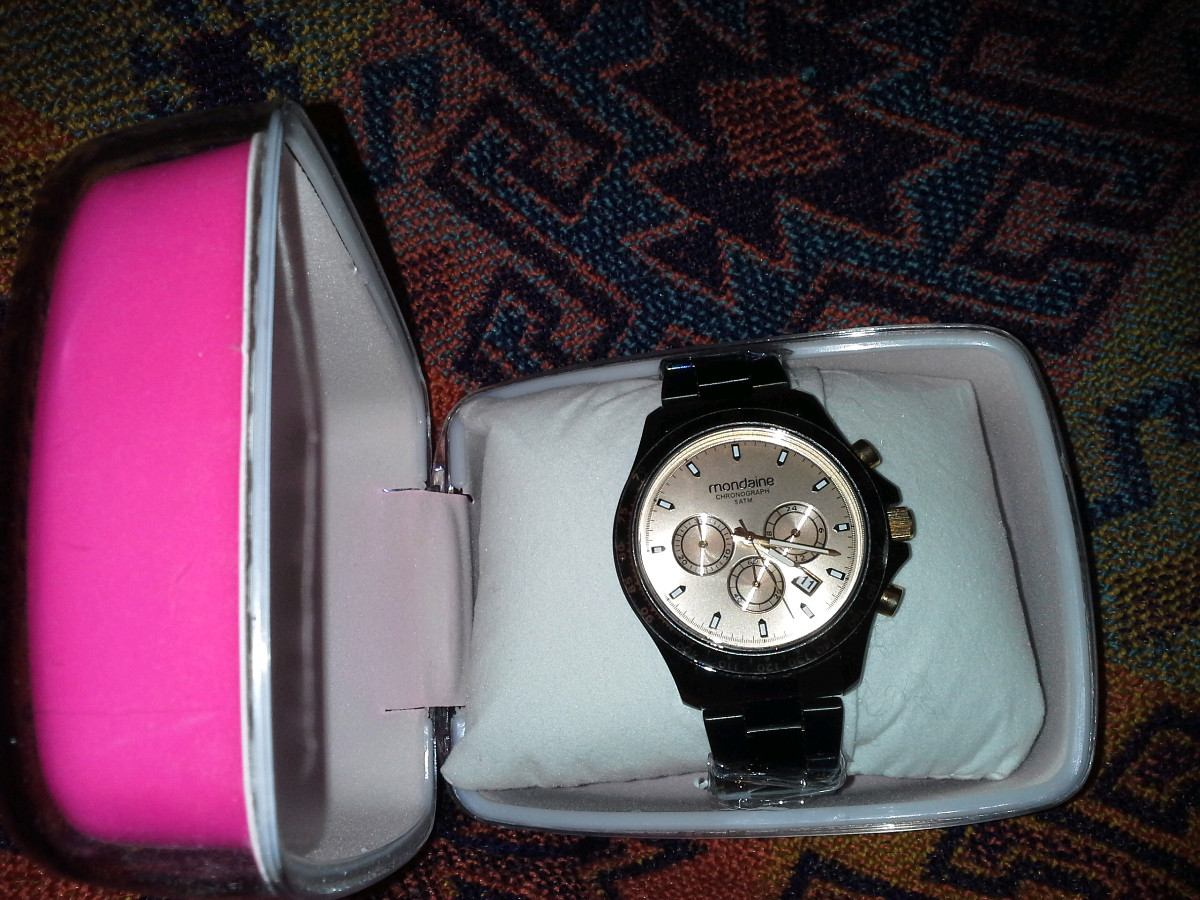 df9434cb513 relógio feminino preto mondaine chronograph sport glamour. Carregando zoom.