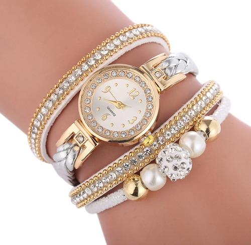 relógio feminino pulseira 2 pérola c/ strass promoção barato