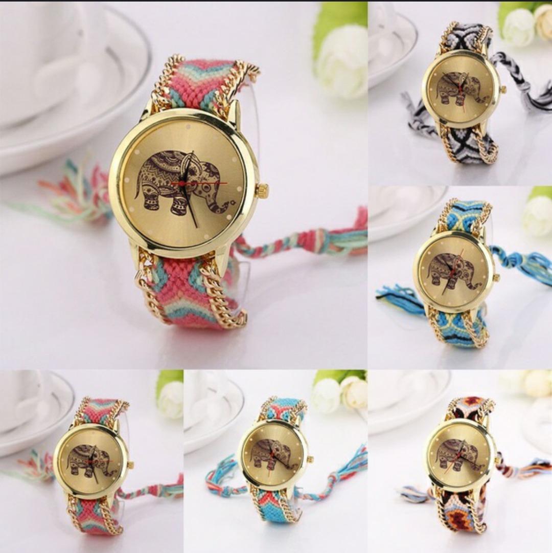 cc8c600a620 relógio feminino pulseira artesanal elefante super fashion. Carregando zoom.