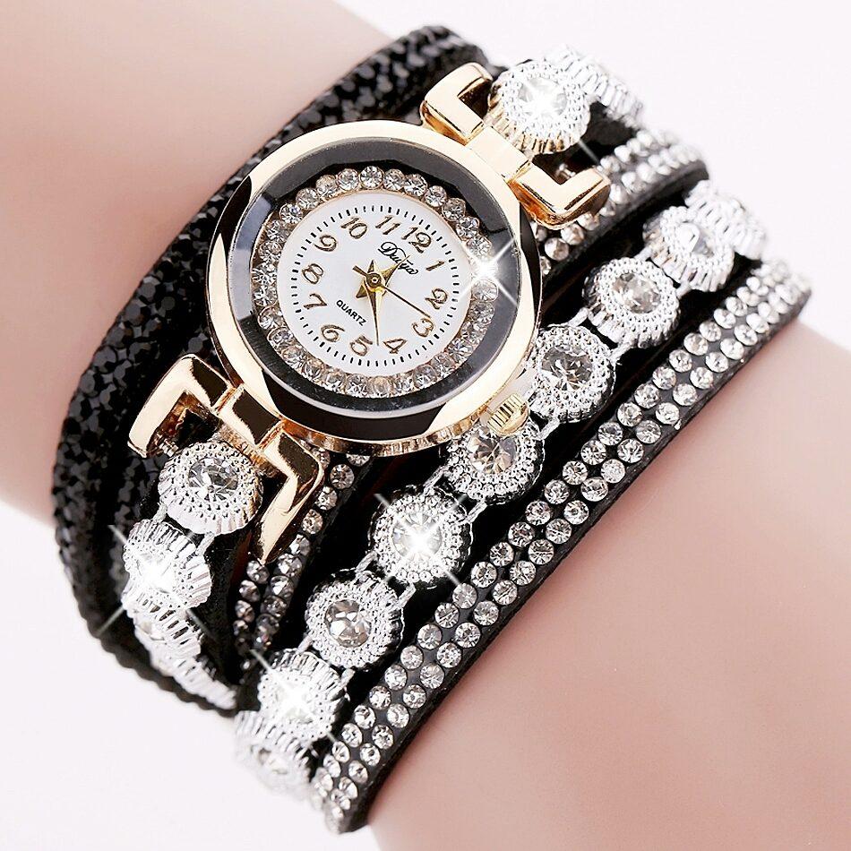 85197fafcfc relogio feminino pulseira bracelete preto strass lindo. Carregando zoom.