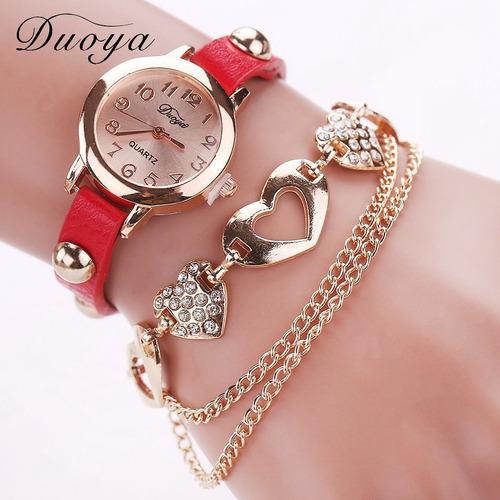 relogio feminino, pulseira com corações e na cor vermelha