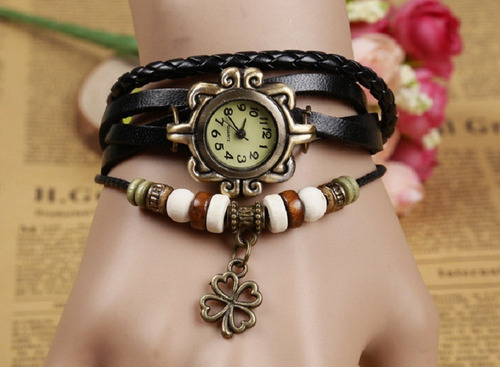 relógio feminino pulseira couro bracelete pingente barato