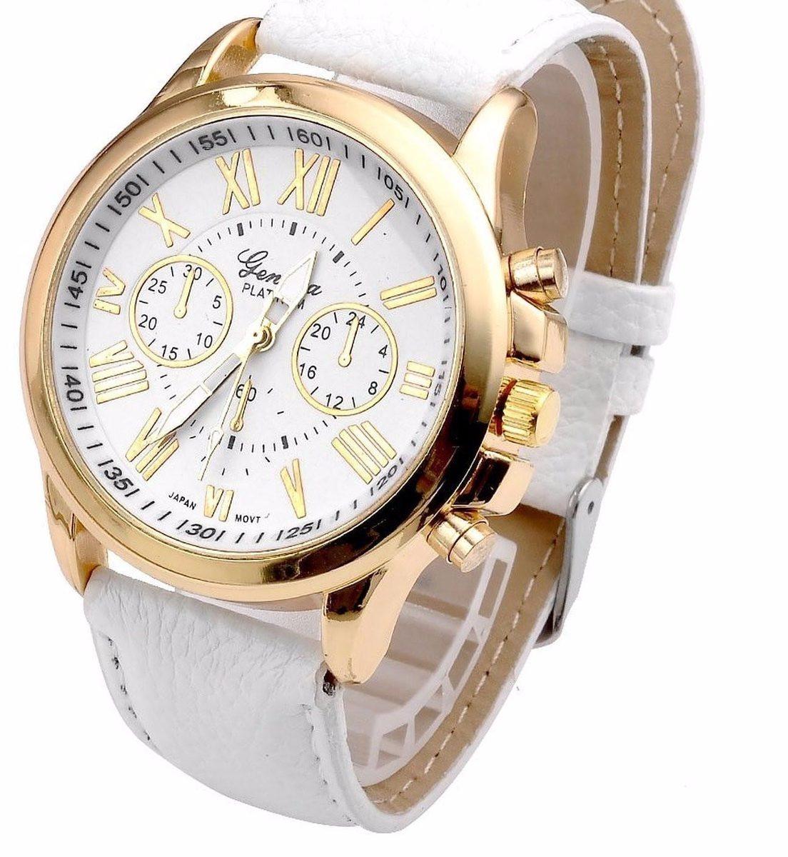 b59ce4b5fc8 relógio feminino pulseira couro moda geneva dourado. Carregando zoom.
