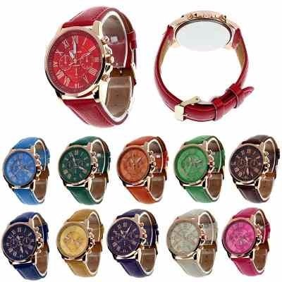 acd01fc7b1c78 Relógio Feminino Pulseira Couro Moda Geneva Kit Com 6 Uns - R ...