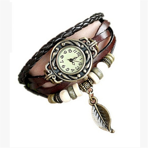relógio feminino pulseira couro vintage pingente menor frete