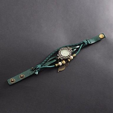 relógio feminino pulseira de couro com folhas;frete grátis!
