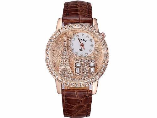2f201fce67e Relógio Feminino Pulseira De Couro Gogoey Torre Eiffel Paris - R  32 ...