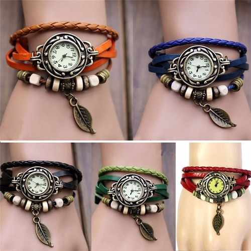 relógio feminino pulseira de couro pingente folha vintage