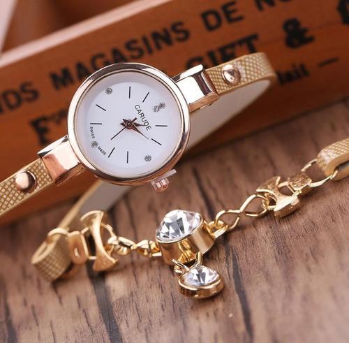 relógio feminino pulseira de couro trançado dourado luxo