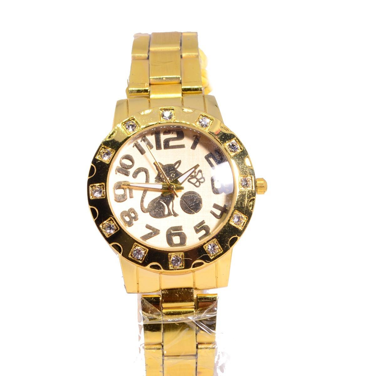 9f80d886e99 relógio feminino pulseira dourada gatinho lindo barato. Carregando zoom.