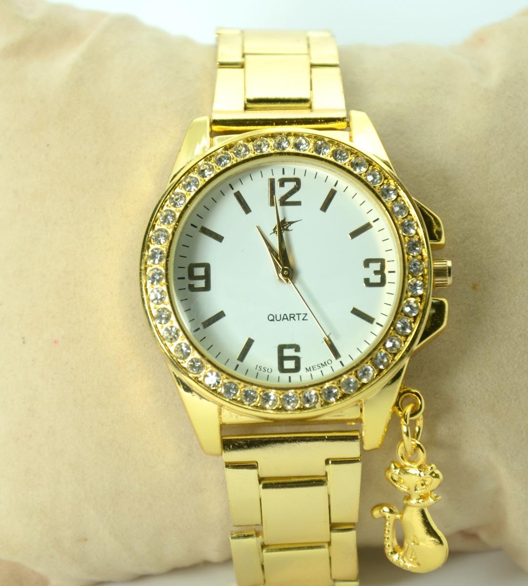 163945bf4a1 relógio feminino pulseira dourado strass lindo mais brinde. Carregando zoom.