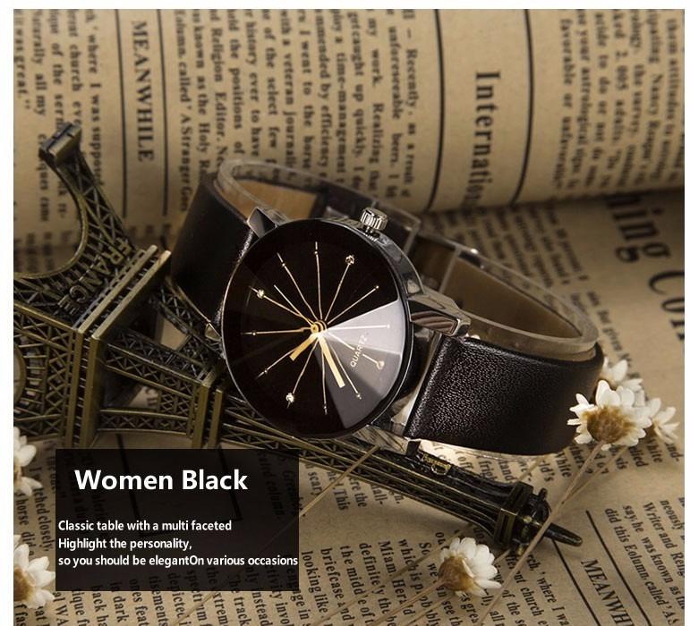 Relógio Feminino Pulseira Em Couro Quartzo Luxo Preto branco - R  29 ... 8ef975db4b