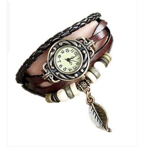 relógio feminino pulseira folha de pingente promoção barato