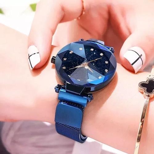 relógio feminino pulseira magnética céu estrelado promocao