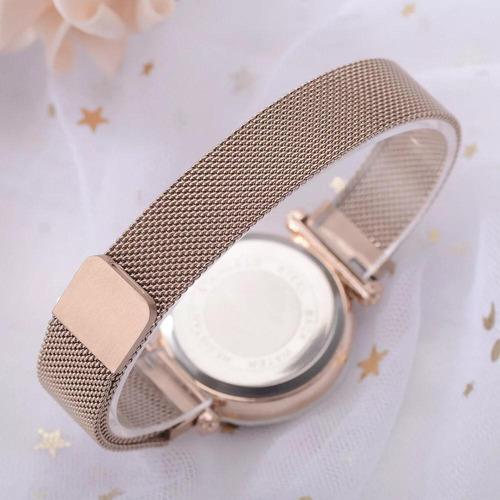 relógio feminino pulseira magnética cor nude brilhante