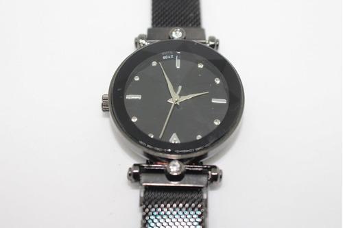 relógio feminino pulseira magnética preto mostrador glitter