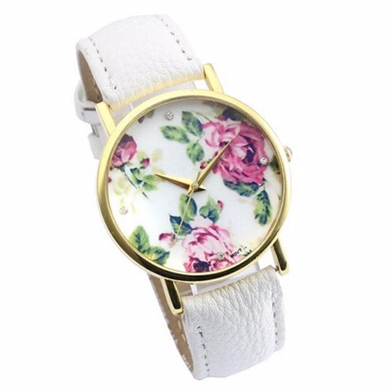 6efc00814a4 Relógio Feminino De Pulso Floral Geneva Frete Grátis - R  65
