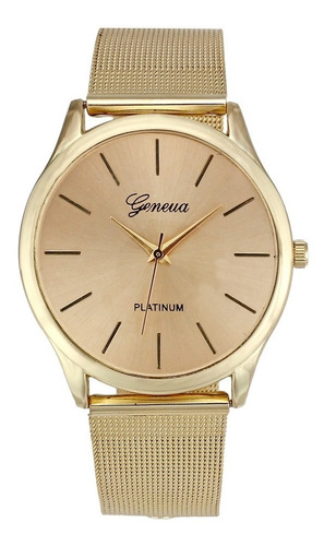 relógio feminino pulso aço geneva inoxidável quartz dourado
