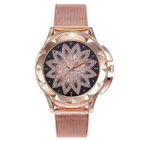 4db0666f0 Relógio Feminino Pulso Luxo Casual Quartz Flor Rosa Ouro