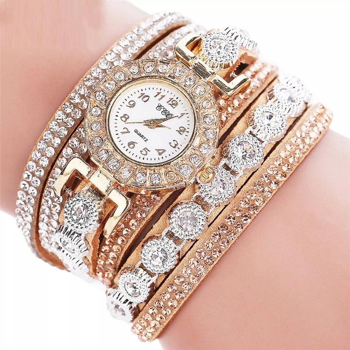 cb24b47f327 relogio feminino pulso pulseira bracelete strass brilhante. Carregando zoom.