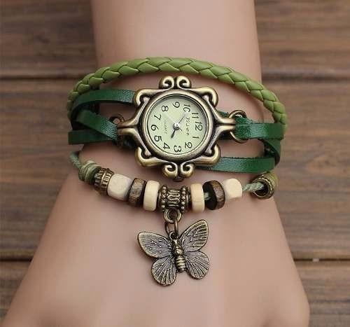 relógio feminino pulso pulseira couro pingente borboleta