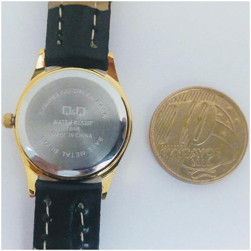 relógio feminino qq by citizen original pulseira couro vip
