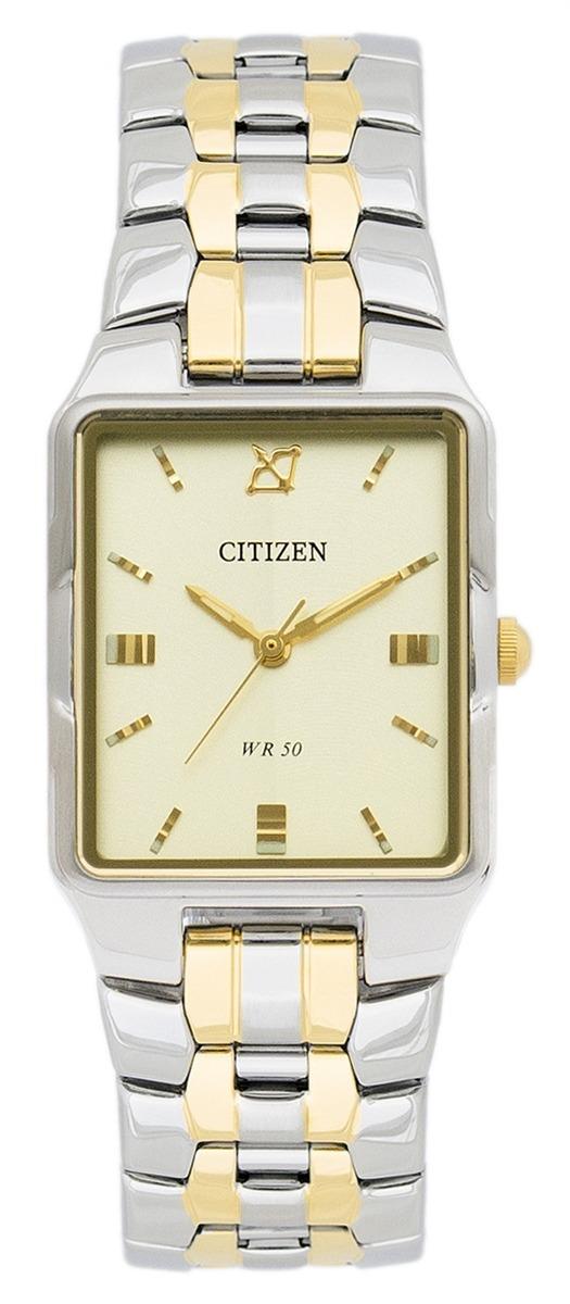 bc3412d8045 relógio feminino quadrado citizen prata dourado champagne. Carregando zoom.