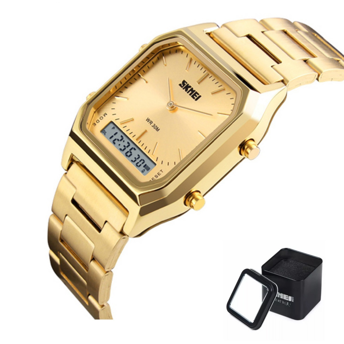 56308a182b8 Relógio Feminino Quadrado Luxo Original Skmei Estilo Casio - R  199 ...