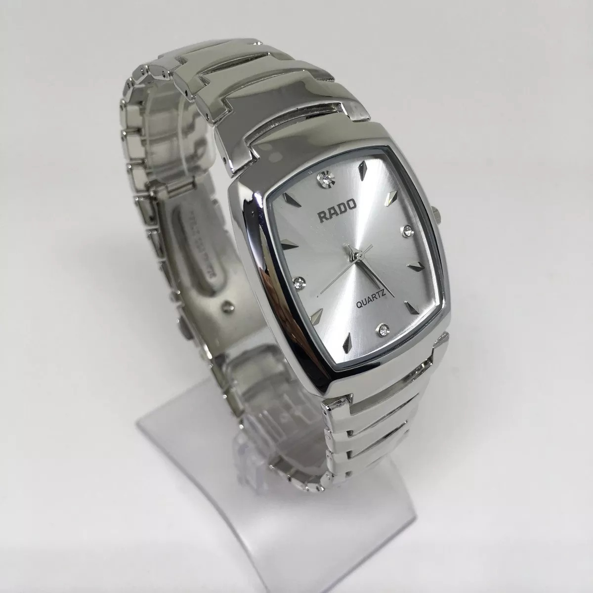 34b10f7fccb relógio feminino quadrado prata + caixa. Carregando zoom.