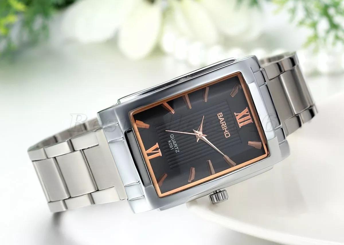 ea10d4ed32c relógio feminino quadrado preto prata aço cromado luxo. Carregando zoom.