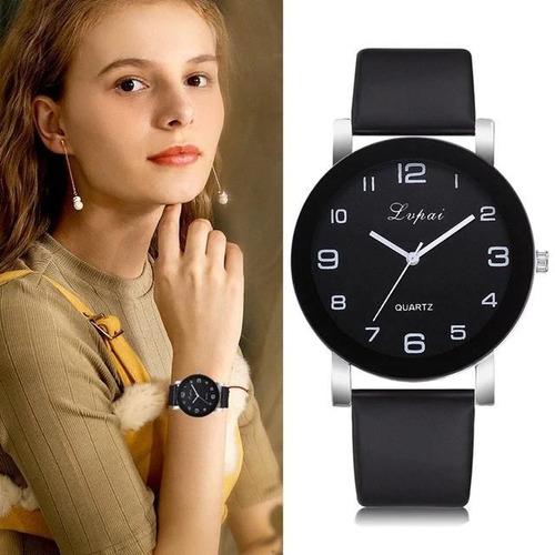 relógio feminino quartz aço inoxidável pulseira de couro