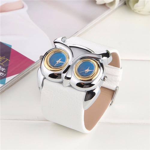 relogio feminino quartzo coruja pulseira couro branco bd1053