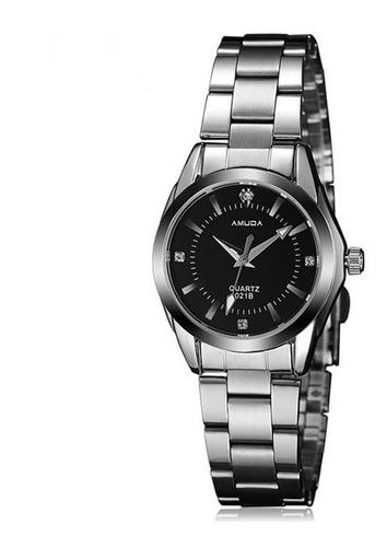relógio feminino quartzo luxo analógico aço inoxidável preto