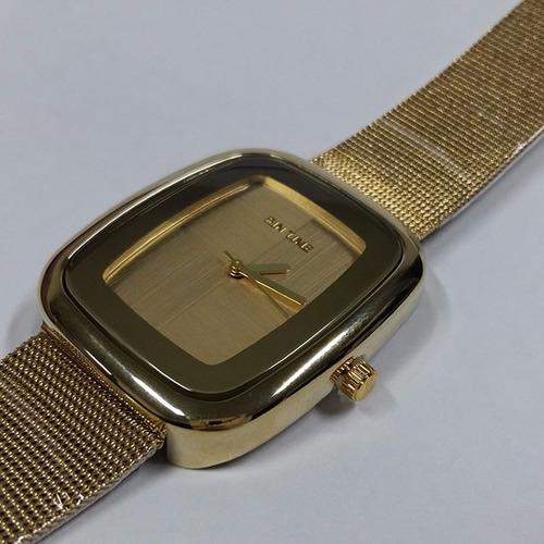 relogio feminino quartzo malha inoxidavel gold bd1286