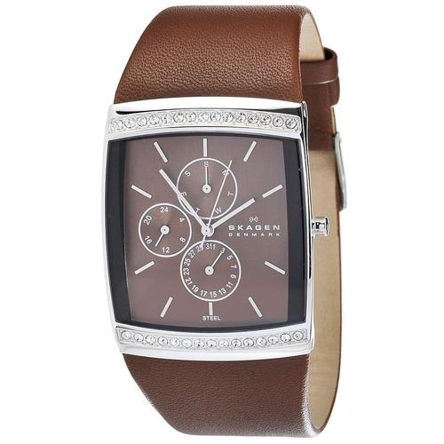 relógio feminino retangular marrom couro cristais swarovski